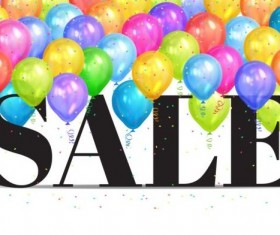 Sale background with colorful balloon vector 02