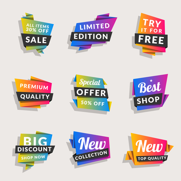 Sale origami banners with shopping tags vector 01
