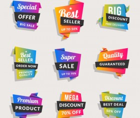 Sale origami banners with shopping tags vector 02