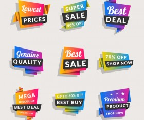 Sale origami banners with shopping tags vector 03