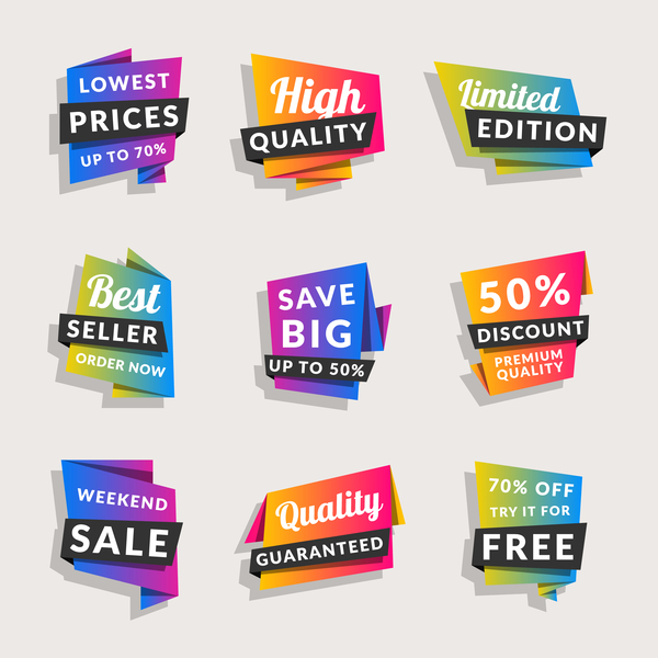 Sale origami banners with shopping tags vector 04