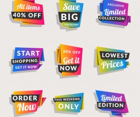 Sale origami banners with shopping tags vector 05