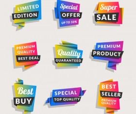 Sale origami banners with shopping tags vector 06