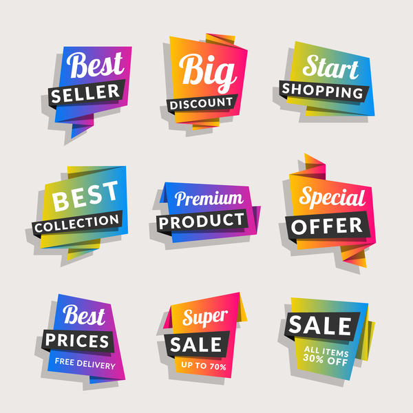 Sale origami banners with shopping tags vector 07