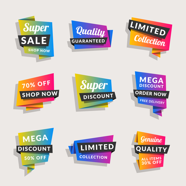 Sale origami banners with shopping tags vector 08