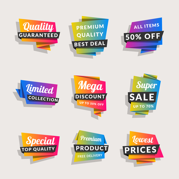 Sale origami banners with shopping tags vector 09