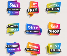Sale origami banners with shopping tags vector 10