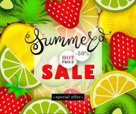 Sale summer fruit advertisemen discounts poster vector 01