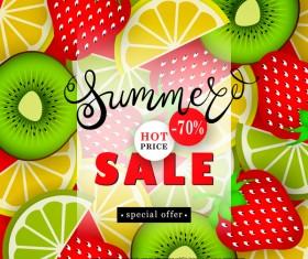 Sale summer fruit advertisemen discounts poster vector 02
