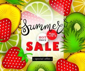 Sale summer fruit advertisemen discounts poster vector 03