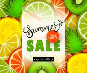 Sale summer fruit advertisemen discounts poster vector 04