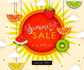 Sale summer fruit advertisemen discounts poster vector 05