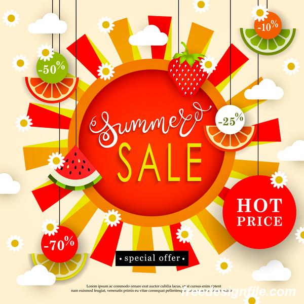 Sale summer fruit advertisemen discounts poster vector 06