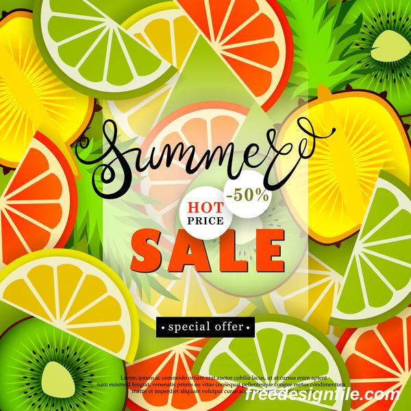Sale summer fruit advertisemen discounts poster vector 07