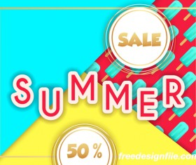 Sales discount summer poster vector 05