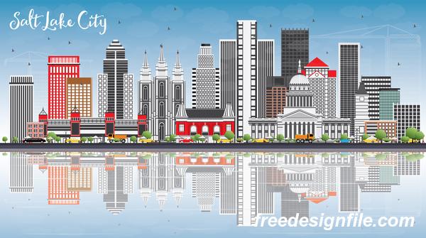 Salt Lake city landscape vectors - Salt Lake City Landscape Vectors Free Download