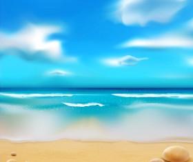 Sandy beach with blue sky summer background vector