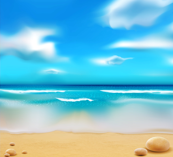 Sandy beach with blue sky summer background vector