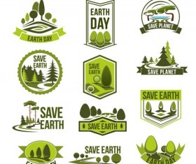 Save earth logos design vector