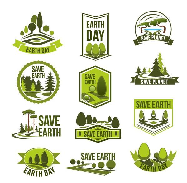 Save earth logos design vector