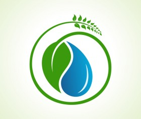 Save water with Eco design logo vector 01