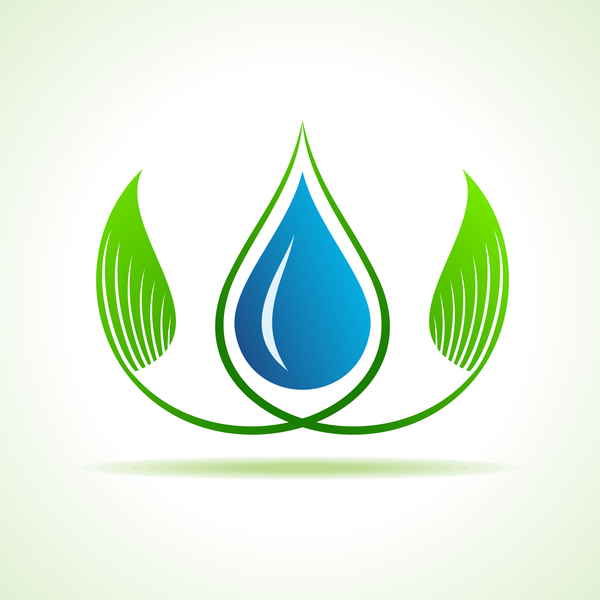 Save water with Eco design logo vector 02