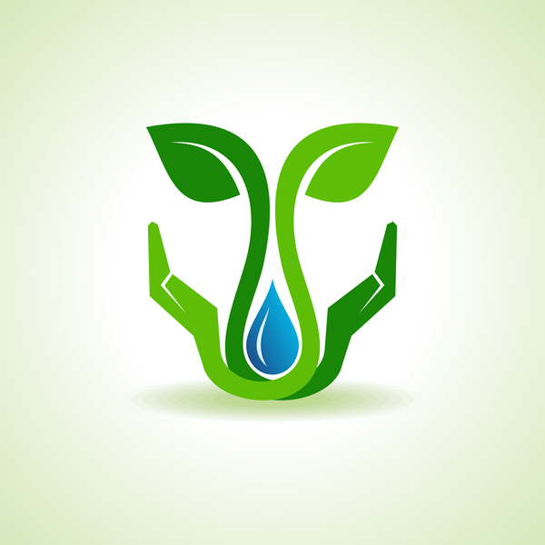 Save water with Eco design logo vector 03