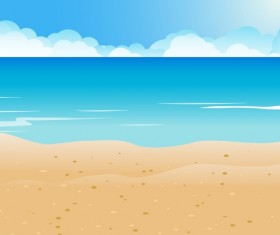 Sea with beach and cloud background vector