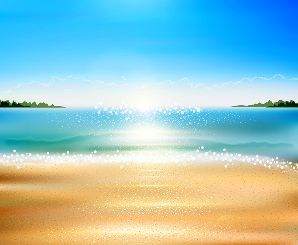 Sea with beach background vector 01
