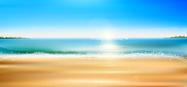 Sea with beach background vector 02