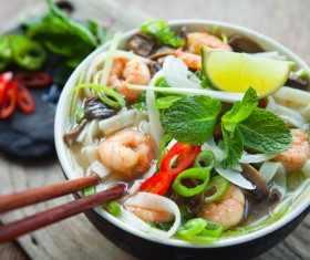 Seafood noodles Stock Photo