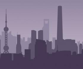 Shanghai city skyline vector