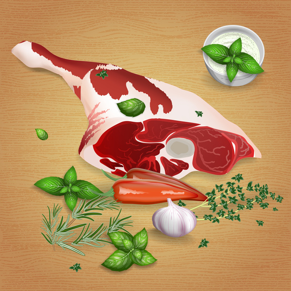 Sheep leg meat with sauces and spices vector 01