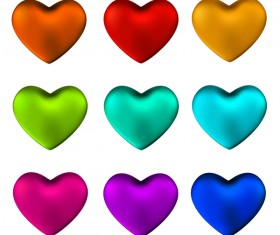 Shiny colored heart vector set