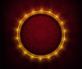 Shiny light frame with red metal background vector