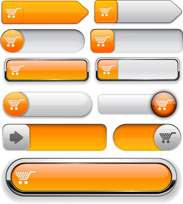 Shiny yellow website buttons vector