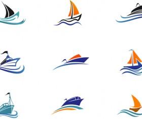 Ship colored logos vector