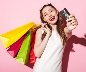 Shop a woman with a bank card Stock Photo