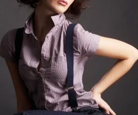 Short hair fashion eye shadow girl Stock Photo
