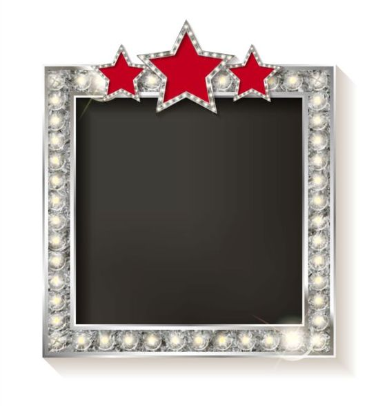 Silver diamond frame with red star vector 01