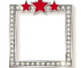 Silver diamond frame with red star vector 02