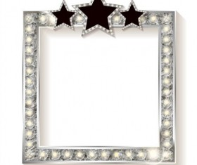 Silver diamond frame with star vector
