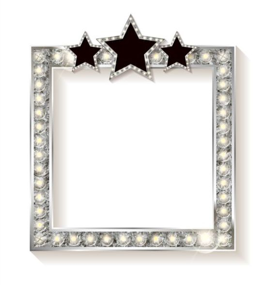 Silver Diamond Frame With Star Vector Vector Background