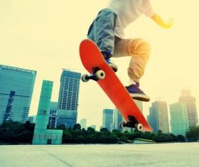 Skateboarding teenager Stock Photo 02