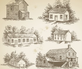 Sketch house retro vector