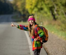 Smile free ride of female tourists Stock Photo