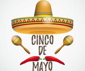 Sombrero Cinco De Mayo Chili Maracas vector