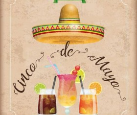 Sombrero Cinco De Mayo Chili Vintage Frame Cocktails vector