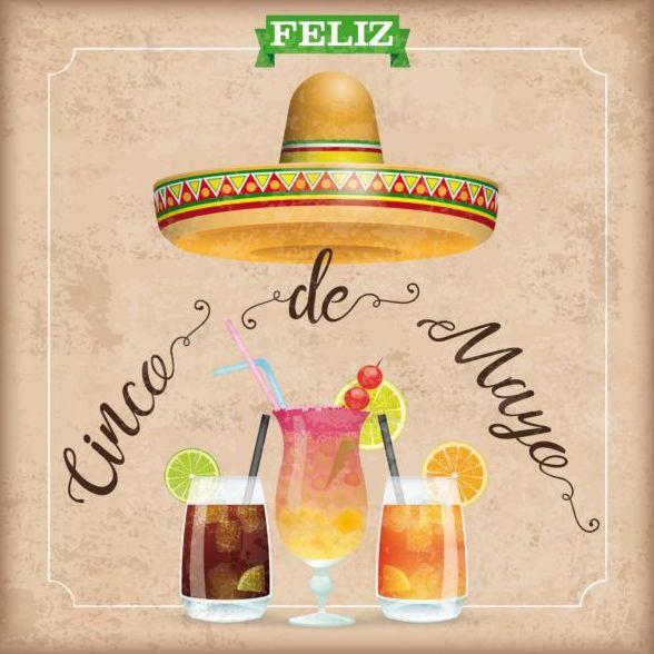 Sombrero Cinco De Mayo Chili Vintage Frame Cocktails vector