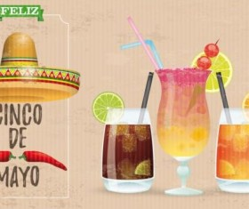 Sombrero Cinco De Mayo Chili Vintage Frame Header Cocktails vector